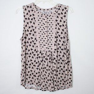 Loft Outlet Flower Print Sleeveless Top Size Large
